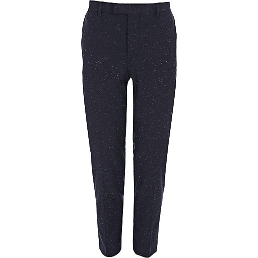 Blue flecked skinny suit pants