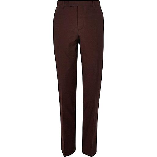 Pantalon de costume slim rouge baie