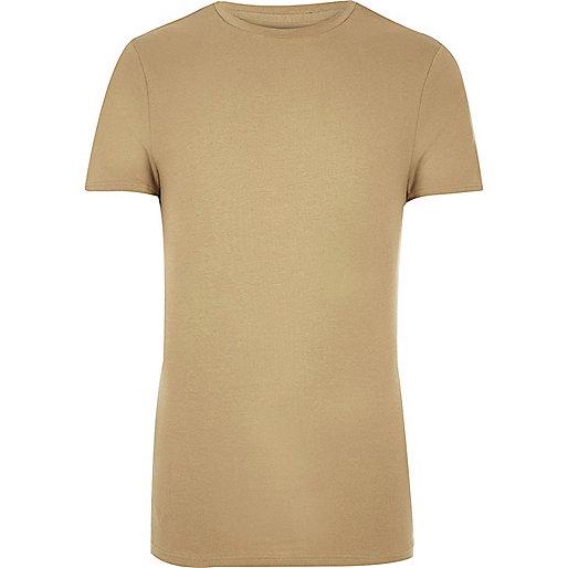 Figurbetontes T-Shirt in Camel
