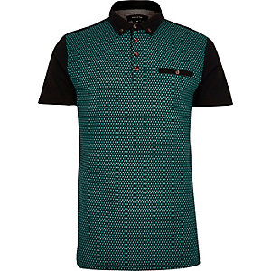 Teal block print polo shirt