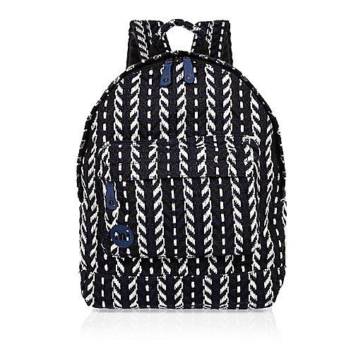 Navy Mi-Pac folk knit backpack