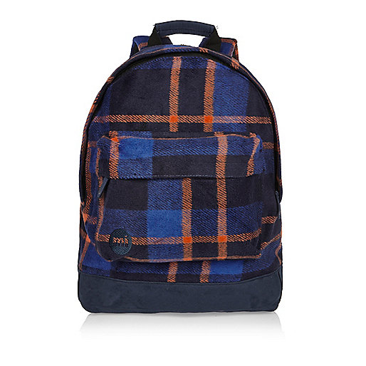 Orange Mi-Pac picnic checked backpack