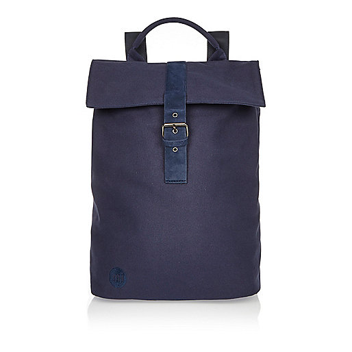 Navy Mi-Pac canvas buckle backpack