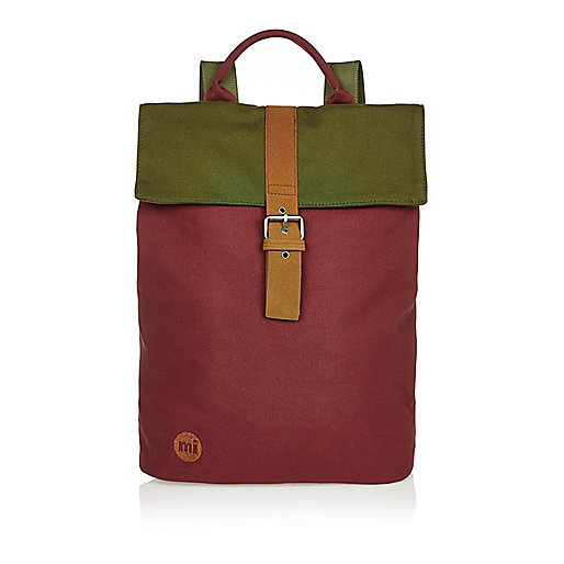Dark red Mi-Pac tonal canvas backpack