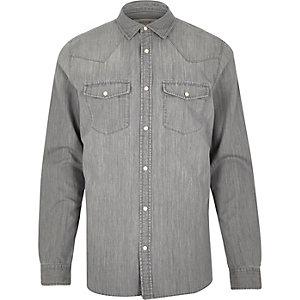 Grey Western denim shirt