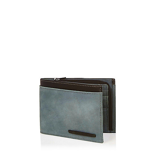 Blue leather embossed wallet