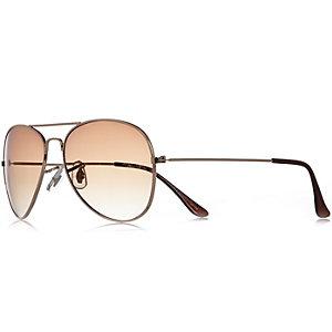 Gold tone aviator-style sunglasses