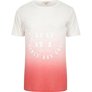 Red faded New York print t-shirt