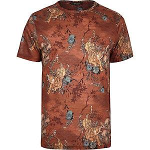 Orange tiger print t-shirt