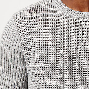 Grey textured tunic sweater