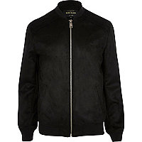 Black faux suede bomber jacket