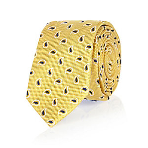 Yellow mini paisley print tie