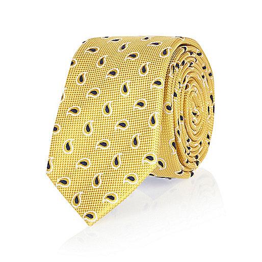 Cravate jaune à imprimé mini cachemire