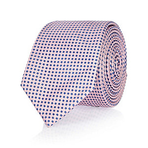 Pink mini checked tie