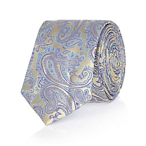Blue wedding paisley print tie