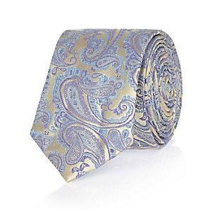 Blue wedding paisley print tie