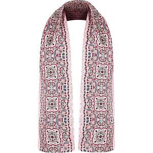 Pink paisley print silk scarf