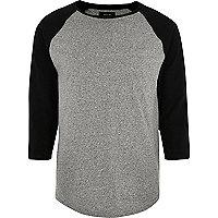 Grey raglan slim fit long sleeve T-shirt