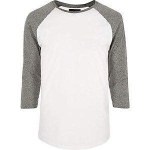 White raglan long sleeve T-shirt