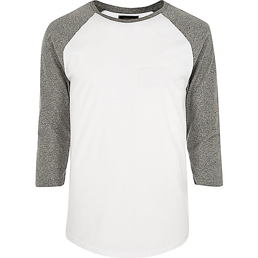 White raglan slim fit long sleeve T-shirt