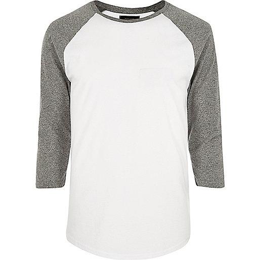 T-shirt blanc coupe slim à manches longues raglan