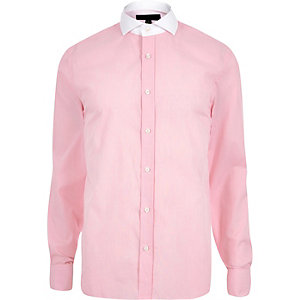 Pink contrast collar slim fit shirt