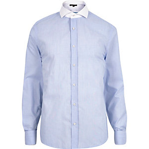 Blue contrast collar slim fit shirt