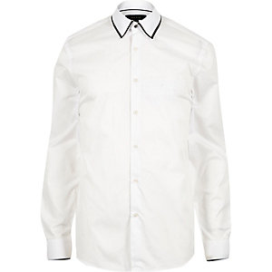 White tipped collar shirt