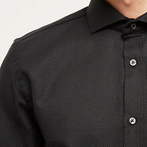Black textured slim fit shirt