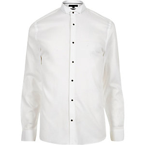 White formal textured cotton slim fit shirt