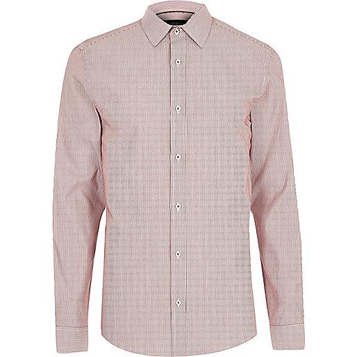 Red formal stripe slim fit shirt