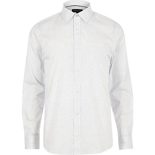 Weißes, schmales Stretch-Hemd