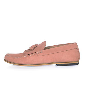 Pink suede tassel loafers