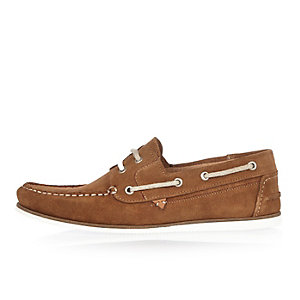 Tan suede boat shoes
