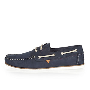 Navy tumbled leather boat shoes