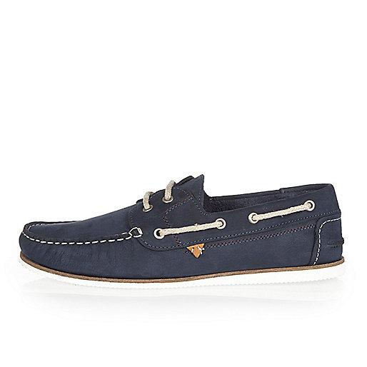 Chaussures bateau en cuir effet vieilli bleu marine