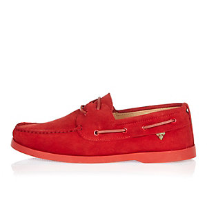 Red suede boat shoes