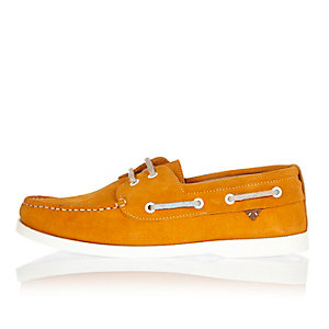 Yellow suede boat shoes