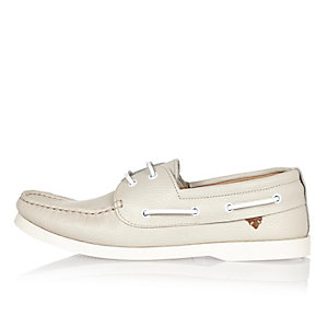 White tumbed leather boat shoes