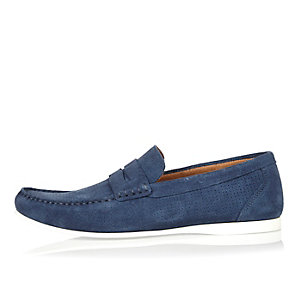 Blue perforated suede loafers