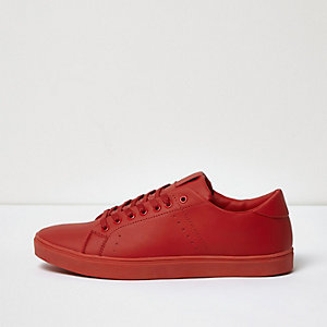 Red tonal sneakers