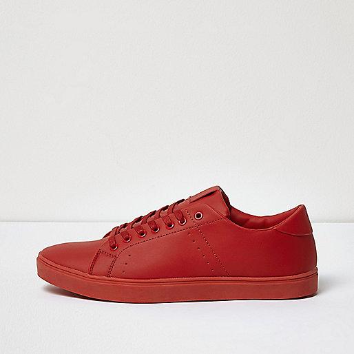 Red tonal sneakers