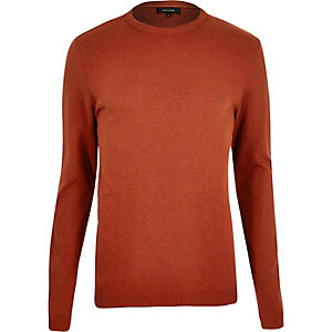 Rust brown crew neck sweater