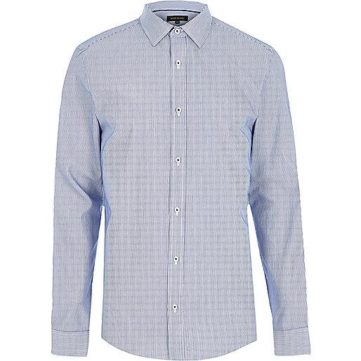 Blue formal stripe slim fit shirt