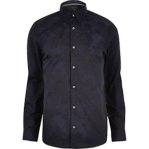 Navy floral jacquard smart slim fit shirt