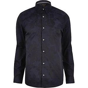 Chemise habillée en jacquard motif fleuri bleu marine coupe slim