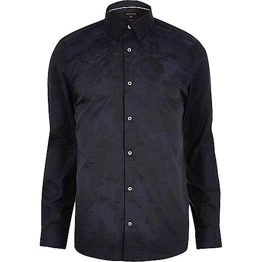 Navy floral jacquard slim fit shirt