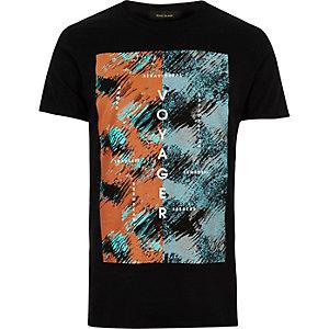 Black voyager print t-shirt