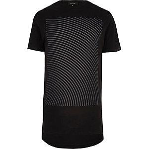 Black wave print longline t-shirt