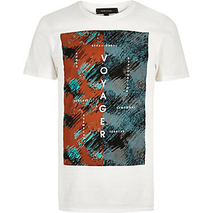 White voyager print t-shirt